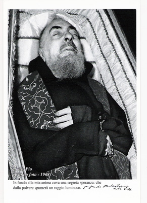 Padre Pio in his funeral coffin