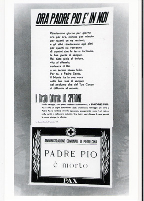 A notice of Padre Pio's death