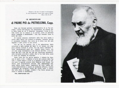 In memoriam of Padre Pio