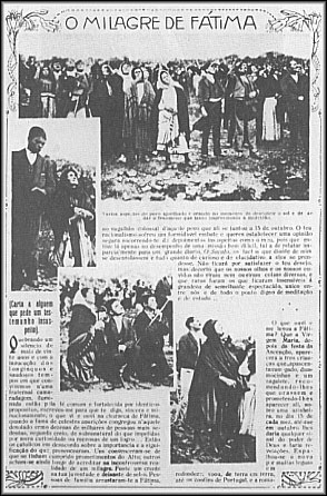 A photostatic copy of a page from Ilustração Portuguesa, October 29, 1917, showing the crowd looking at the miracle of the sun during the Fátima apparitions (attributed to the Virgin Mary)