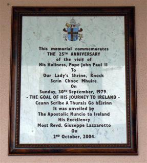25th Anniversary of the Papal Visit Plaque